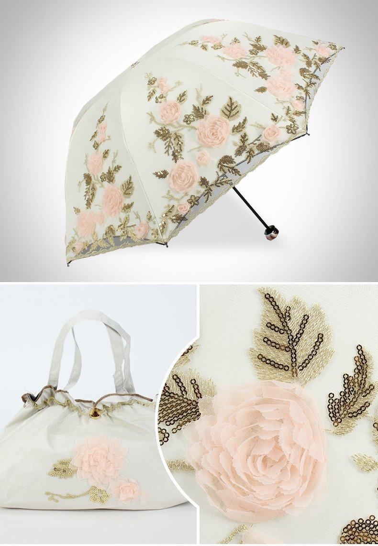 Honeystore Lace Parasol Decoration Bridal Shower Vintage Umbrellas for Wedding 3 Fold Beige by Honeystore (Image #6)