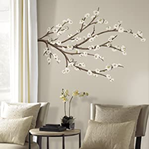 RoomMates White Blossom Branch Peel And Stick Giant Wall Decals with Flower Embellishments