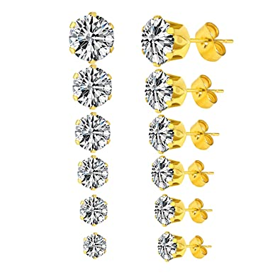 J.Fée 7 Packs Hypoallergenic Stainless Steel Stud Earrings 4A+ Zirconia with Exquisite Gift Packing TVopPokh