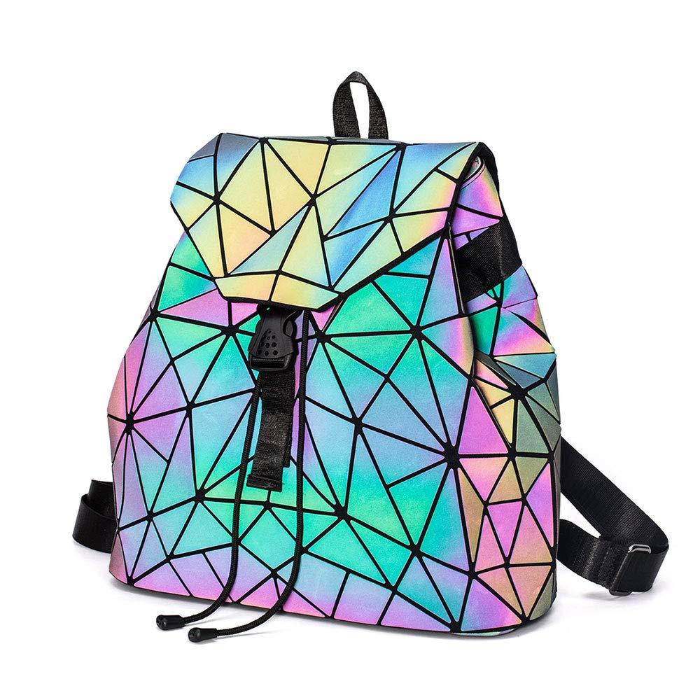DIOMO Geometric Lingge Women Backpack Luminous Mens Travel Shoulder Bag Rucksack (Luminous NO.3) by DIOMO