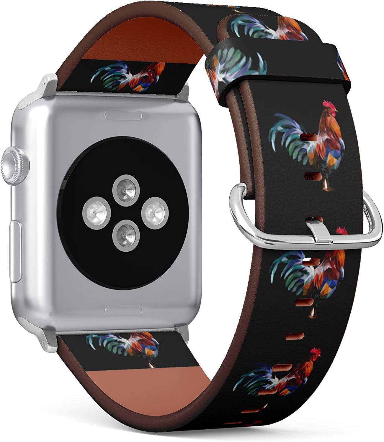 (Geometry Goat Rooster) Patterned Leather Wristband Strap for Apple Watch Series 4/3/2/1 gen,Replacement for iWatch 42mm / 44mm Bands