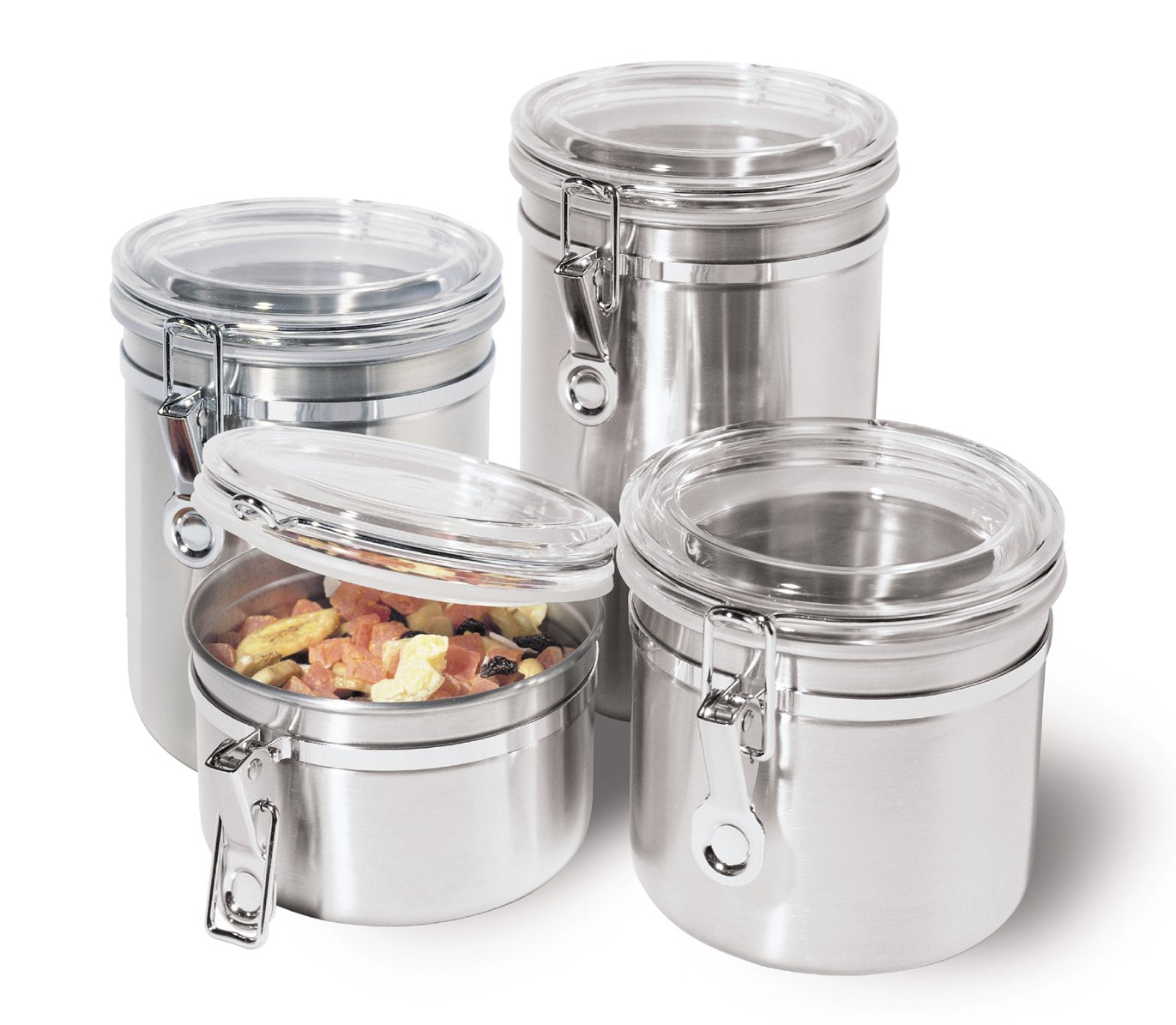 Oggi 4-Piece Stainless Steel Canister Set with Acrylic Lid and Clamp-Set Includes 1 each: 26oz, 36oz, 47oz, 62oz.