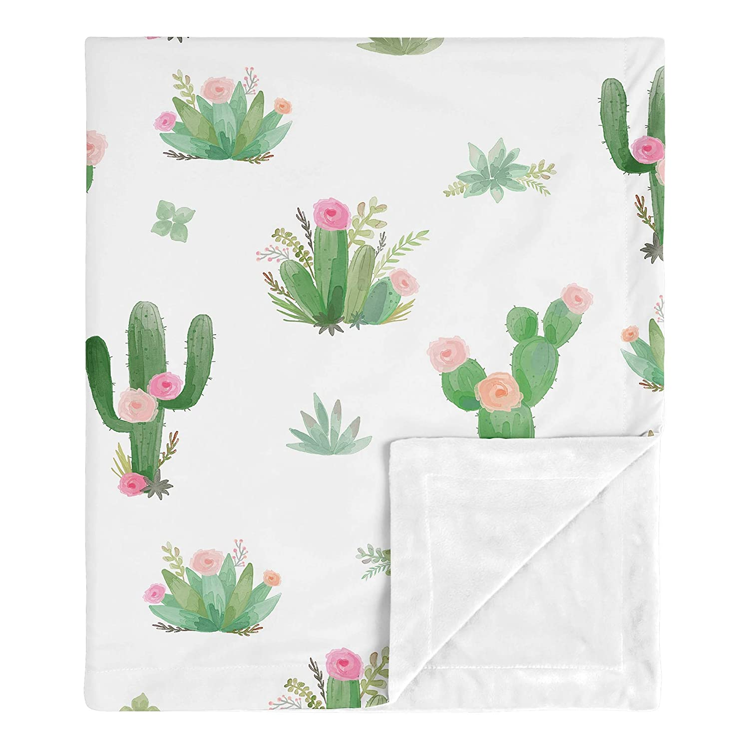 Bedding Set Milestone Blanket Pink and Green Cactus Personalized Baby Quilt Baby Girl Shower Gift Boho Nursery Name Quilt Succulent