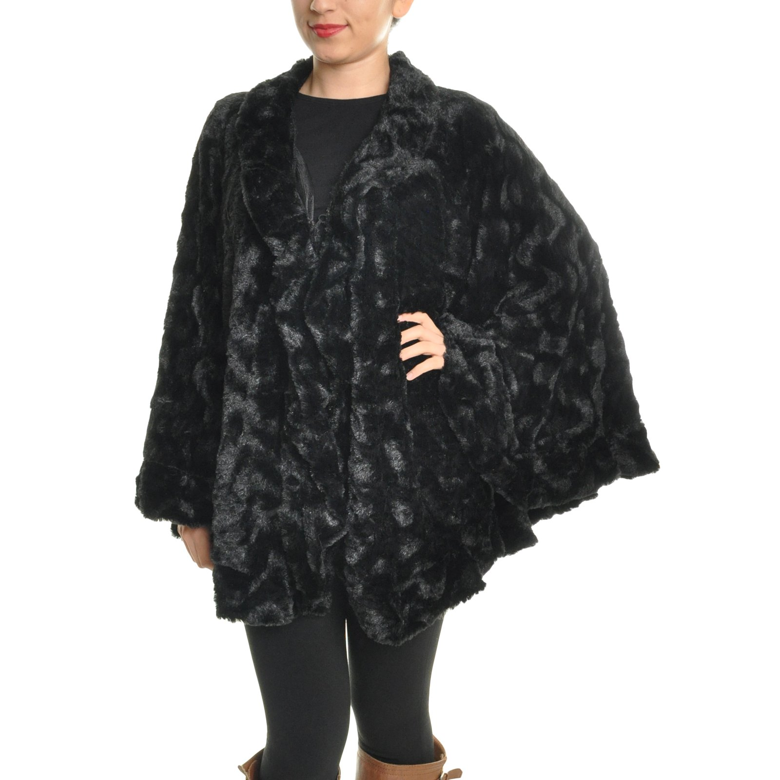 Angelina Oversized Faux Fur Poncho Chevron Pattern, Round #06_BLK…