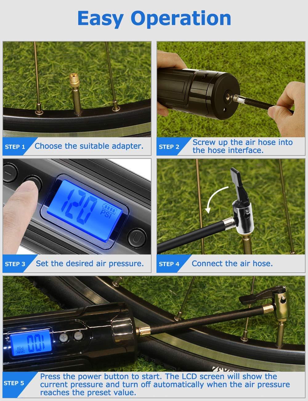 YLJYJ Kompressor Fahrrad Reifendruckpr/üfer Auto Luftkompressor Akku Wiederaufladbarer mit 3 Jahre Garantie Tragbare Reifenpumpe 1000Kpa 12V Mobile Kompressoren /& Luftpumpen