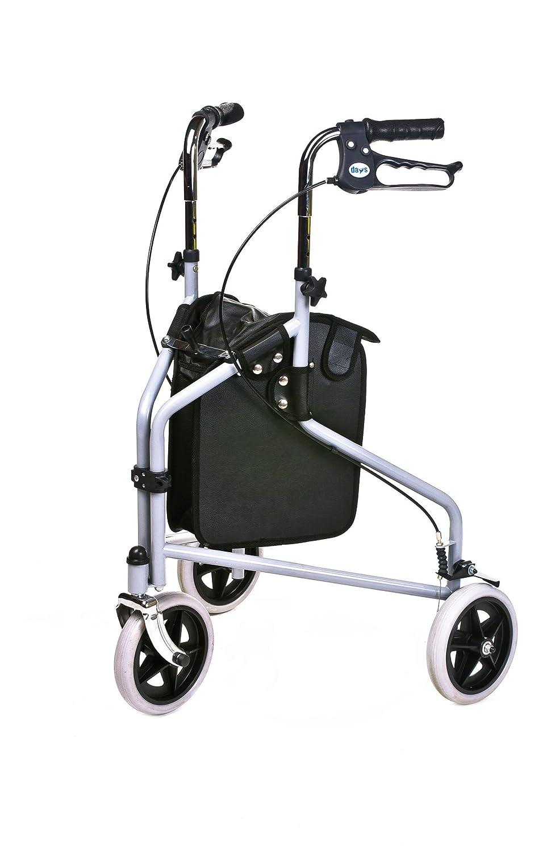 3 ruedas bloqueables Walker/andador con frenos y bolso de ...