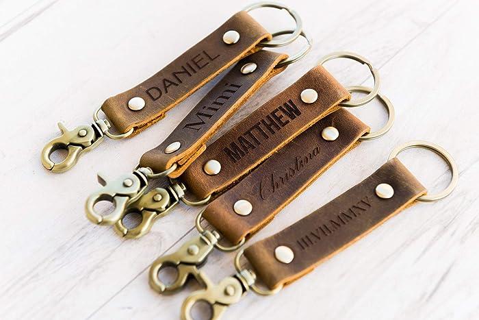 Amazon com: Personalized Leather Keychain Key Fob Key ring