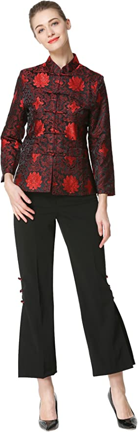 Bitablue Womens Red Flowers of Rich and Honor Chinese Brocade Jacket