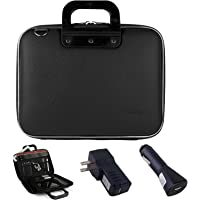 Cady Funda de transporte de piel bolsa de hombro para el Lenovo IdeaTab A10, S600010.1Pulgadas Android Tablet + Coche Cargador USB hogar Cargador USB, Negro