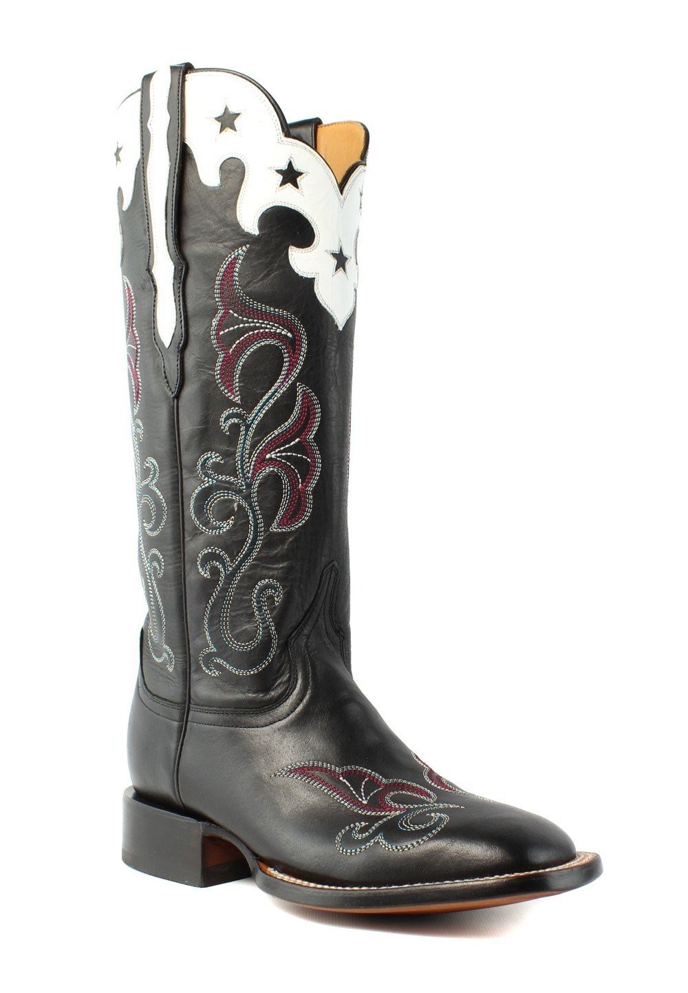 Lucchese Women's Scallop Top Star Western Boot, Black, 7 M US