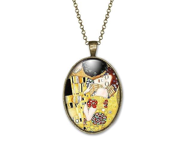 Idee Regalo Natale Per Moglie.Collana Cabochon Klimt Il Bacio Regalo Di Natale Per Idea