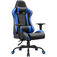 JUMMICO  High-Back Gaming Chair PU Leather Racing Chair Ergonomic Computer Desk Executive Home Office Chair with Headrest and Lumbar Support (Blue)