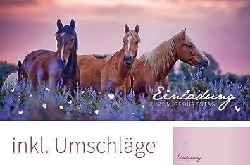 Set: 12 Einladungskarten Zum Geburtstag U201ePferdeu201c (inkl. 12 Briefumschläge) |