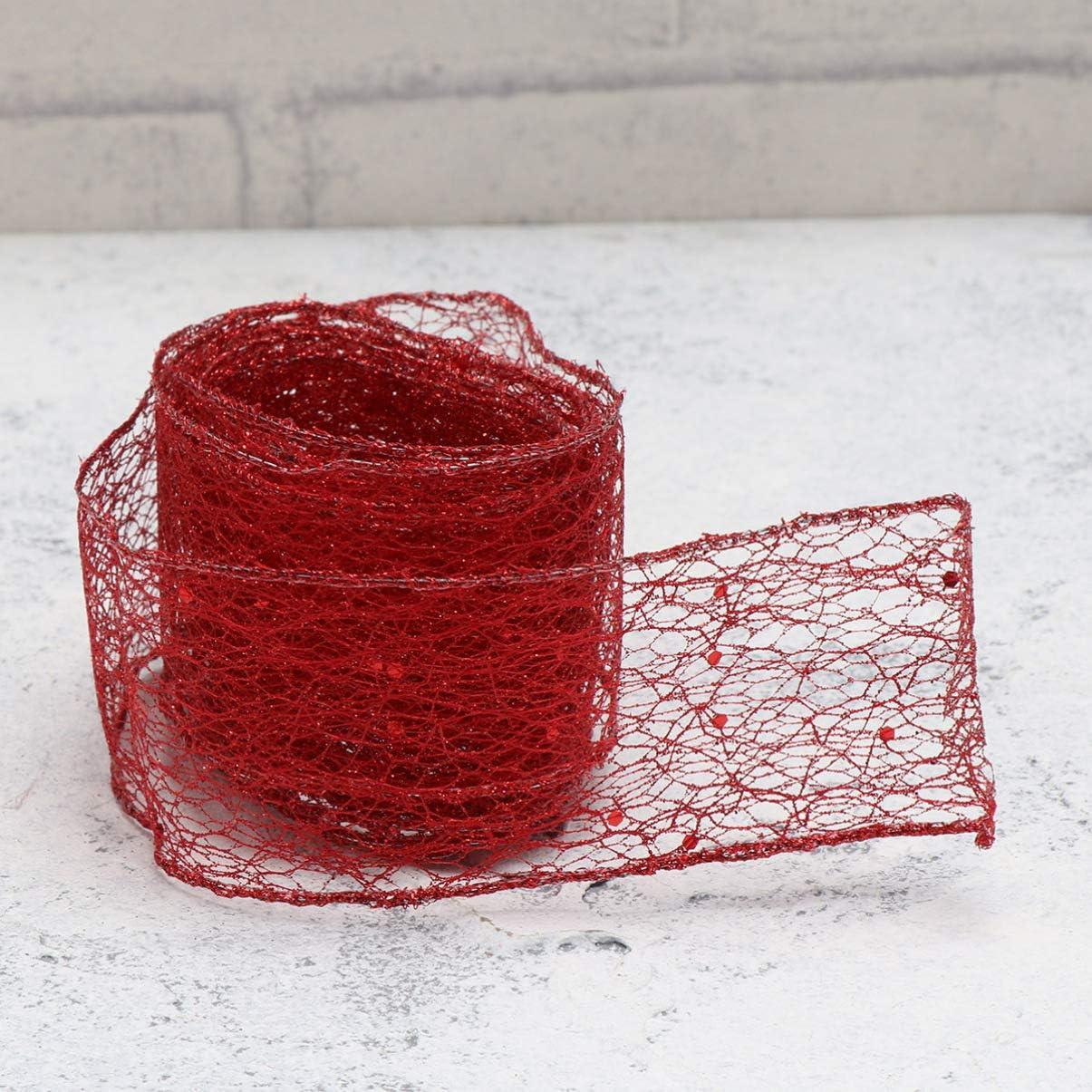 color rojo rosso medium 2 m Cinta 4 cintas de malla con purpurina para decoraci/ón de /árbol de Navidad Toyvian