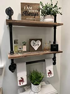 Industrial Pipe Shelf Bathroom Shelves Wall Mounted,19.6in Rustic Wood Shelf with Towel Bar,2 Tier Black Farmhouse Towel Rack Over Toilet,Pipe Shelving Metal Floating Shelves Towel Holder