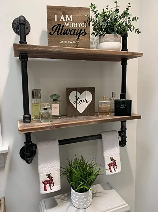 Amazon Com Industrial Pipe Shelf Bathroom Shelves Wall Mounted 19 6in Rustic Wood Shelf With Towel Bar 2 Tier Black Farmhouse Towel Rack Over Toilet Pipe Shelving Metal Floating Shelves Towel Holder Home Kitchen
