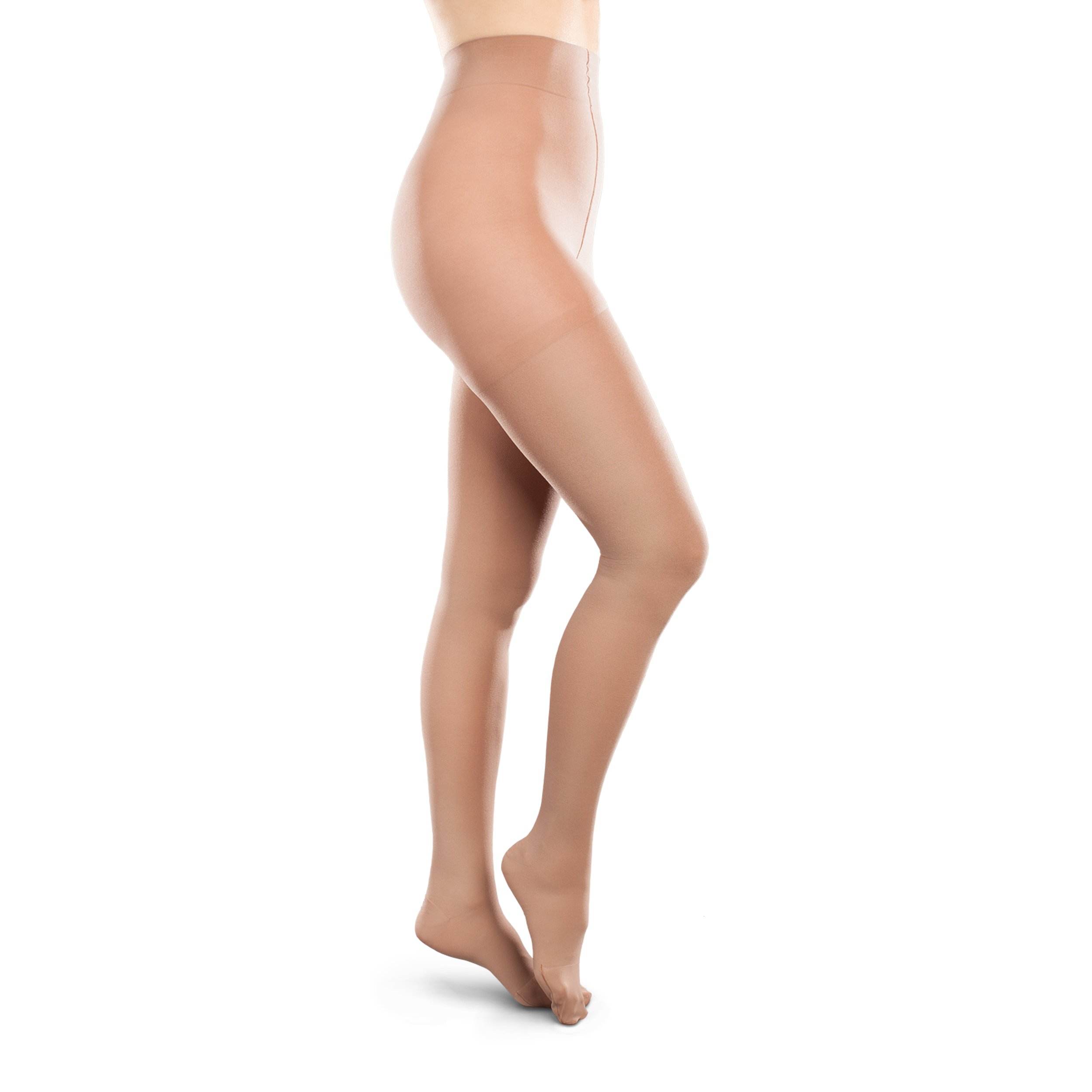 Therafirm Opaque Women's Support Pantyhose - Moderate (20-30mmHg) Graduated Compression Hosiery (Sand, Medium Long)