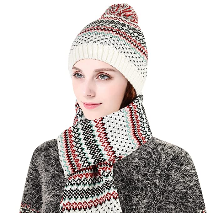 7d328fc7fce2d Vbiger Gorro invierno para Hombre y Mujer Sombrero con Bufanda (Blanco)