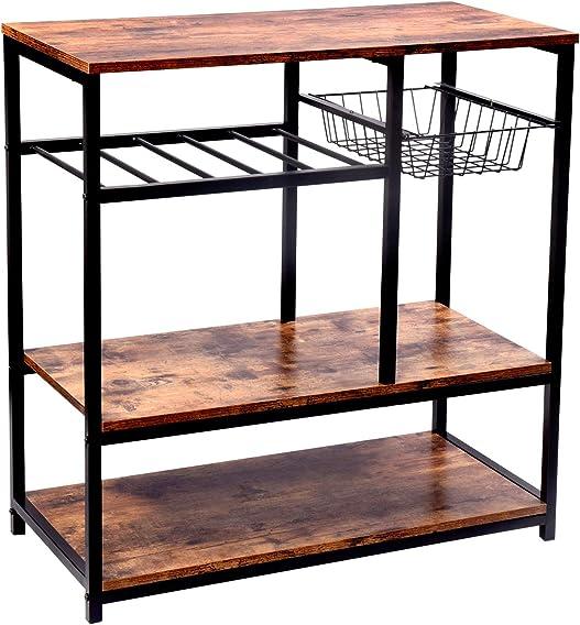Vintage Kitchen Baker's Rack Utility Storage Shelf Stand Organizer Coffee Workstation