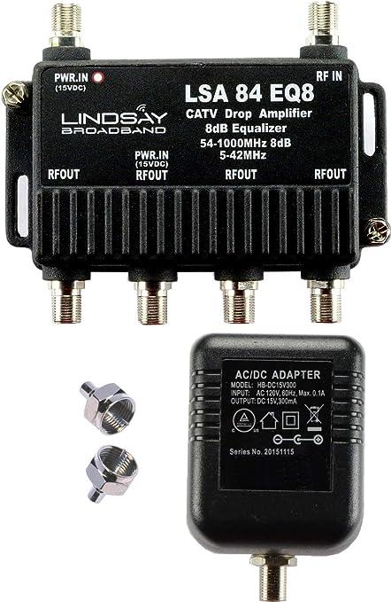 Lindsay LSA84-EQ8 - Amplificador de señal digital de 4 puertos para TV, antena, HDTV o Internet