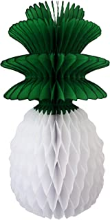 product image for 3-Pack 13 Inch Honeycomb Pineapple Party Decoration with Green Leaves (White)