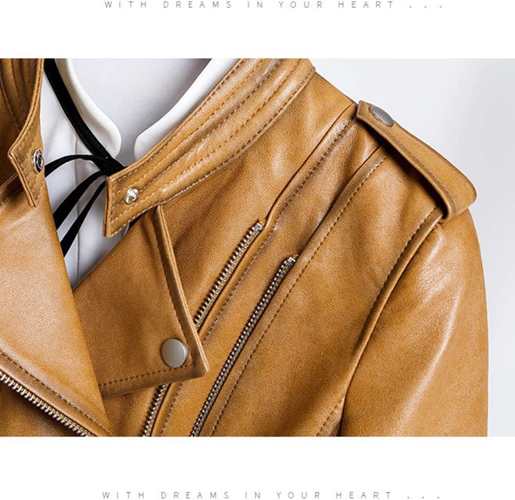 Huige, giacca da donna in vera pelle, con cerniera obliqua, slim e leggera, in pelle di agnello a maniche lunghe, per moto, elegante risvolto con cerniera Oro