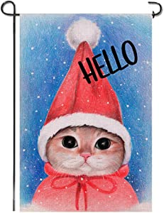 Shmbada Hello Winter Cat Burlap Garden Flag, Premium Material Double Sided, Seasonal Merry Christmas Home Decor Outdoor Decorative Small Flags for Yard Lawn Patio Porch Farmhouse, 12 x18 Inch