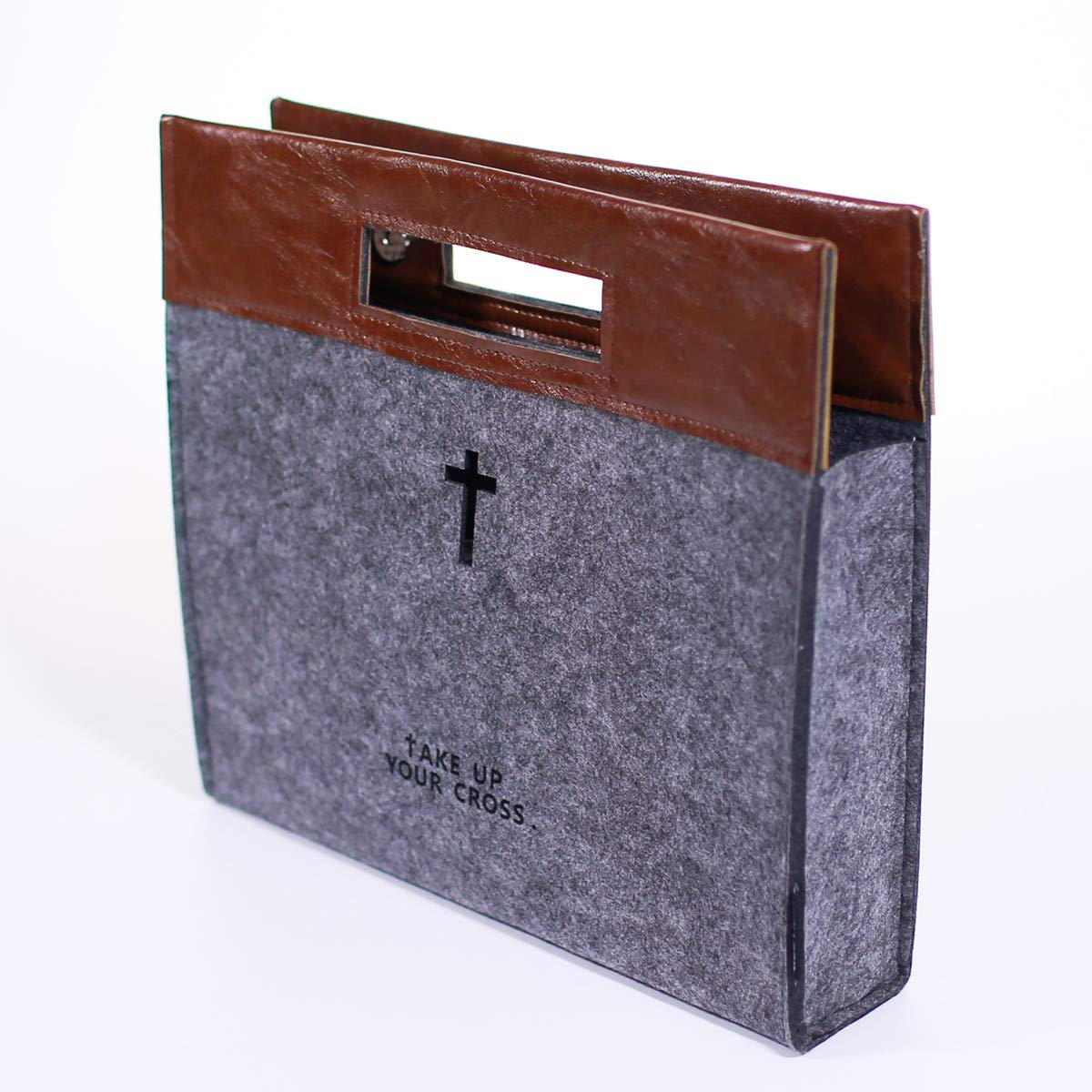 Bible Carrying Case Felt Bible Cover for Men Church Tote Bag with Zipper Roomy Bible Study Case, Christian Gift for Week Deals