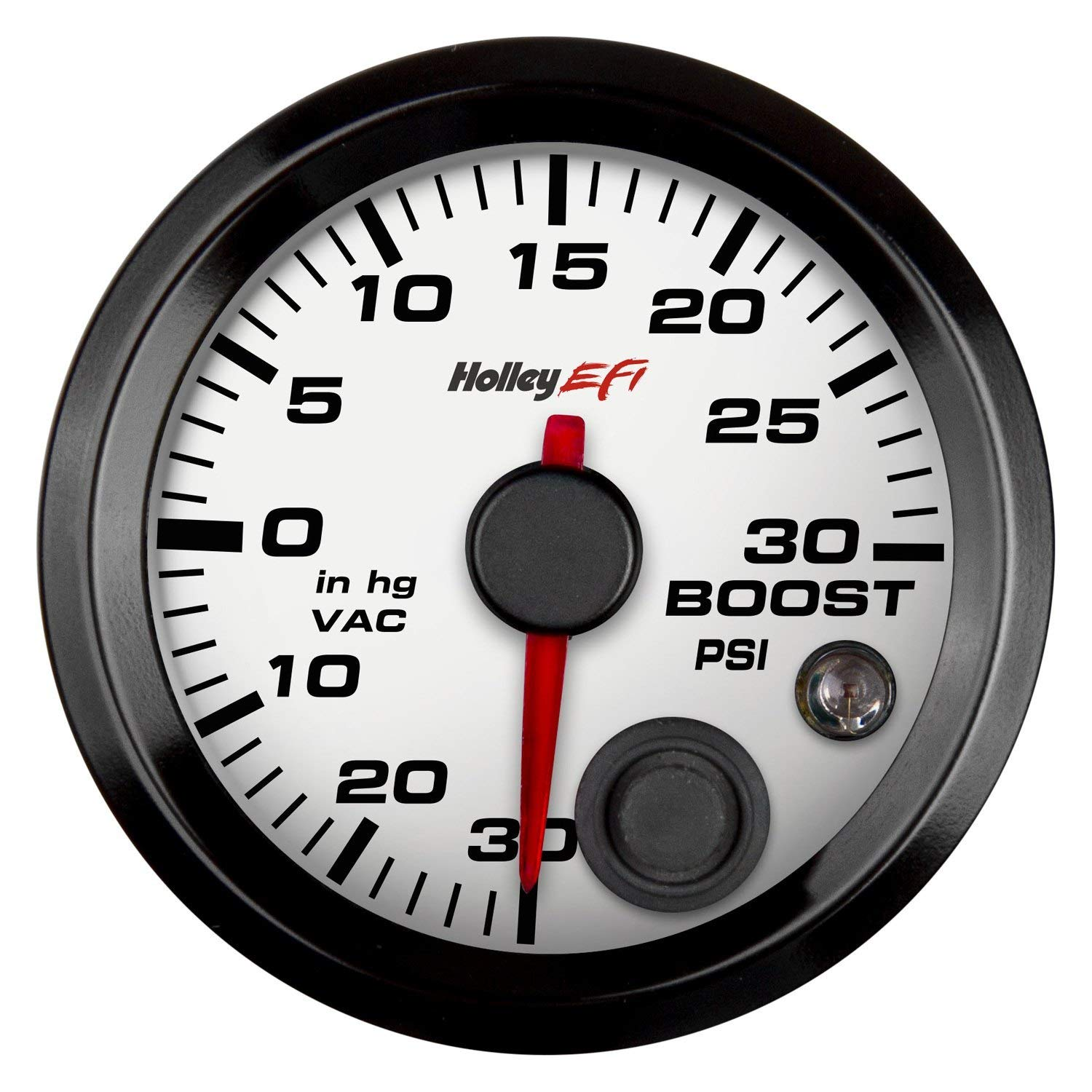 Holley 553-130W - EFI Series 2-1/16'' CAN Vacuum/Boost Gauge, White, 30inHg to +30 PSI by Holley