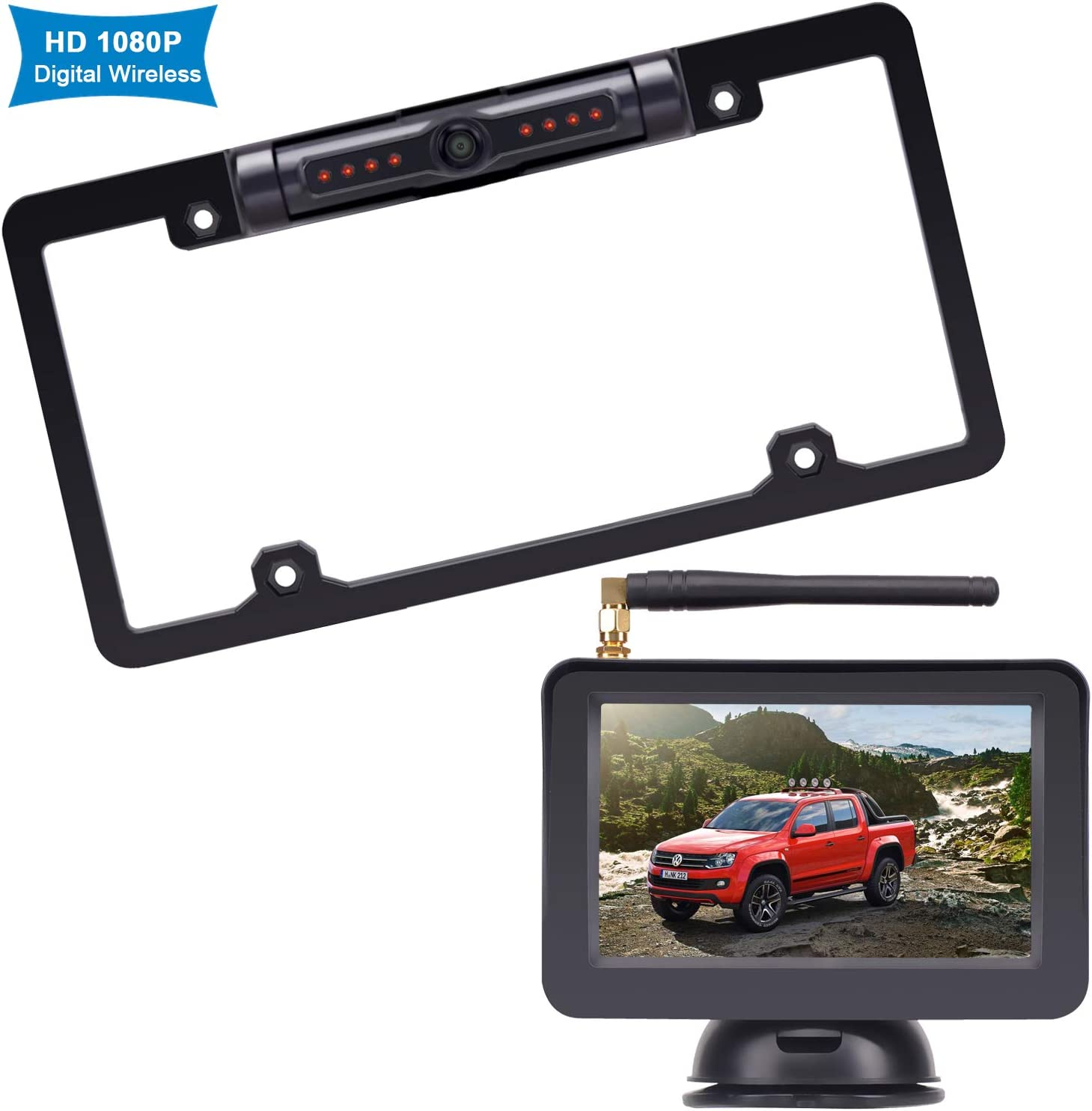Rohent R3 HD 1080P Digital Wireless Backup Camera with 5'' Monitor License Plate Hitch Rear View Camera System
