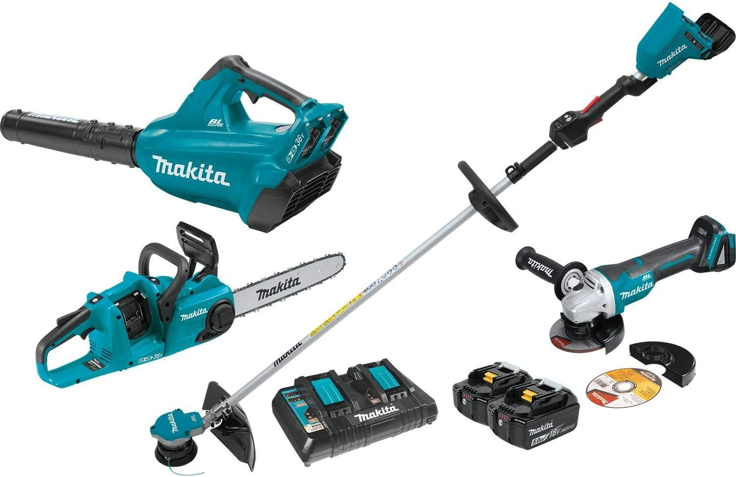Makita XT331PTX 18V X2 36V LXT Lithium-Ion Brushless Cordless 3-Pc. Combo Kit 5.0Ah and Brushless Angle Grinder