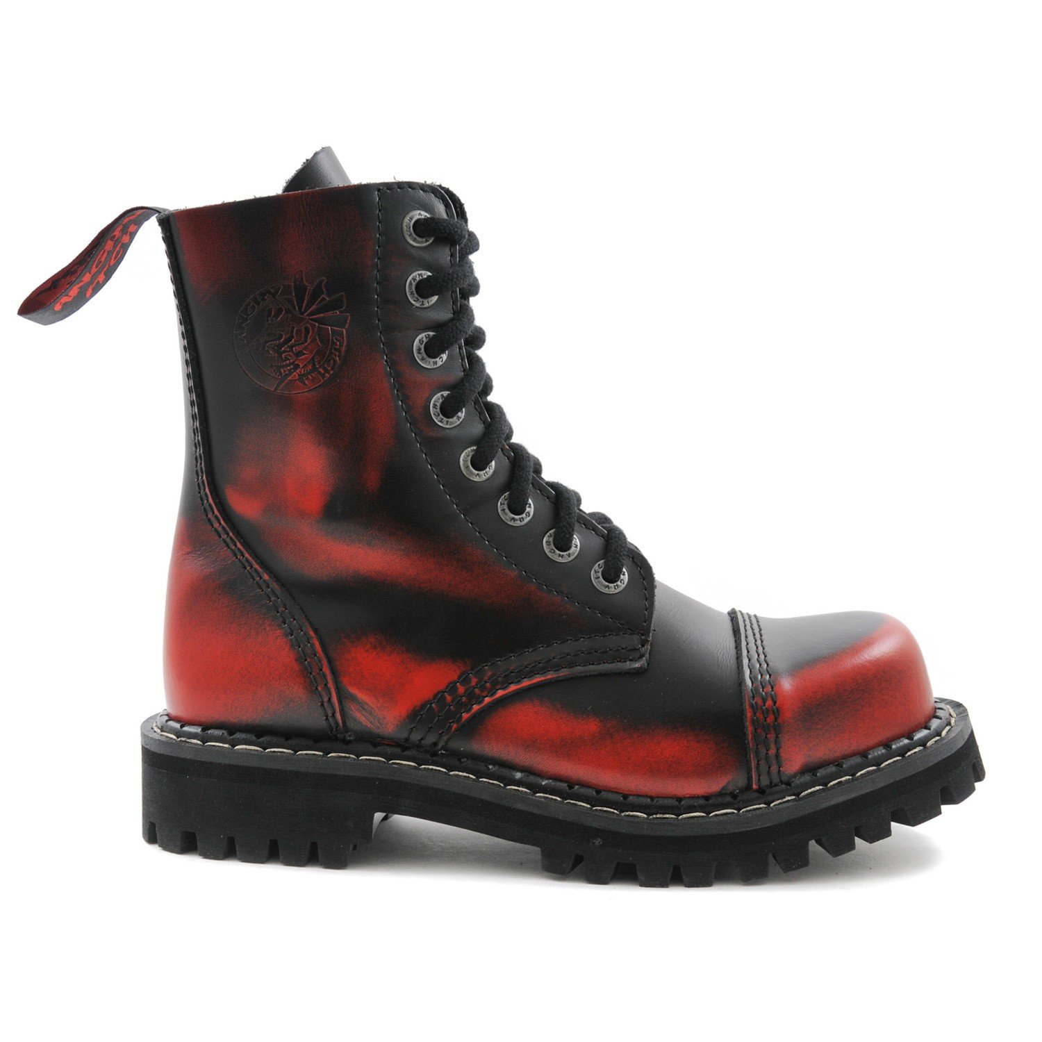 ANGRY ITCH 8-Loch Gothic Punk Army Ranger Armee Rot Rub-Off 36-48 Leder Stiefel mit Stahlkappe 36-48 Rub-Off - Made in EU! - f49dea