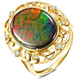 Aokarry Women 18K Yellow Gold Anniversary Promise Ring, Hollow 4.05ct Oval Ammolite Rings for Womens