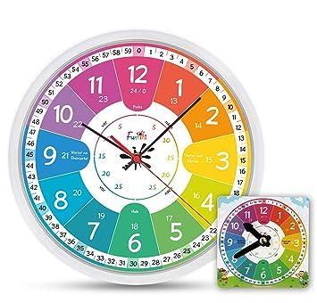 Fun Tini Niños Reloj Juego de lautlos | Reloj de pared Ø30 cm con juguete de