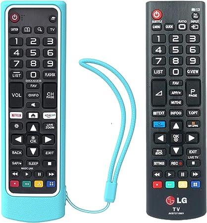 SIKAI CASE Ajustado Adapta Funda de Silicona Compatible con LG Remote AKB73715601 / AKB75095308 / AKB74915324 / AKB75095307, Anti-caída Carcasa de Protección a Prueba de Golpes (Azul Blanco): Amazon.es: Electrónica