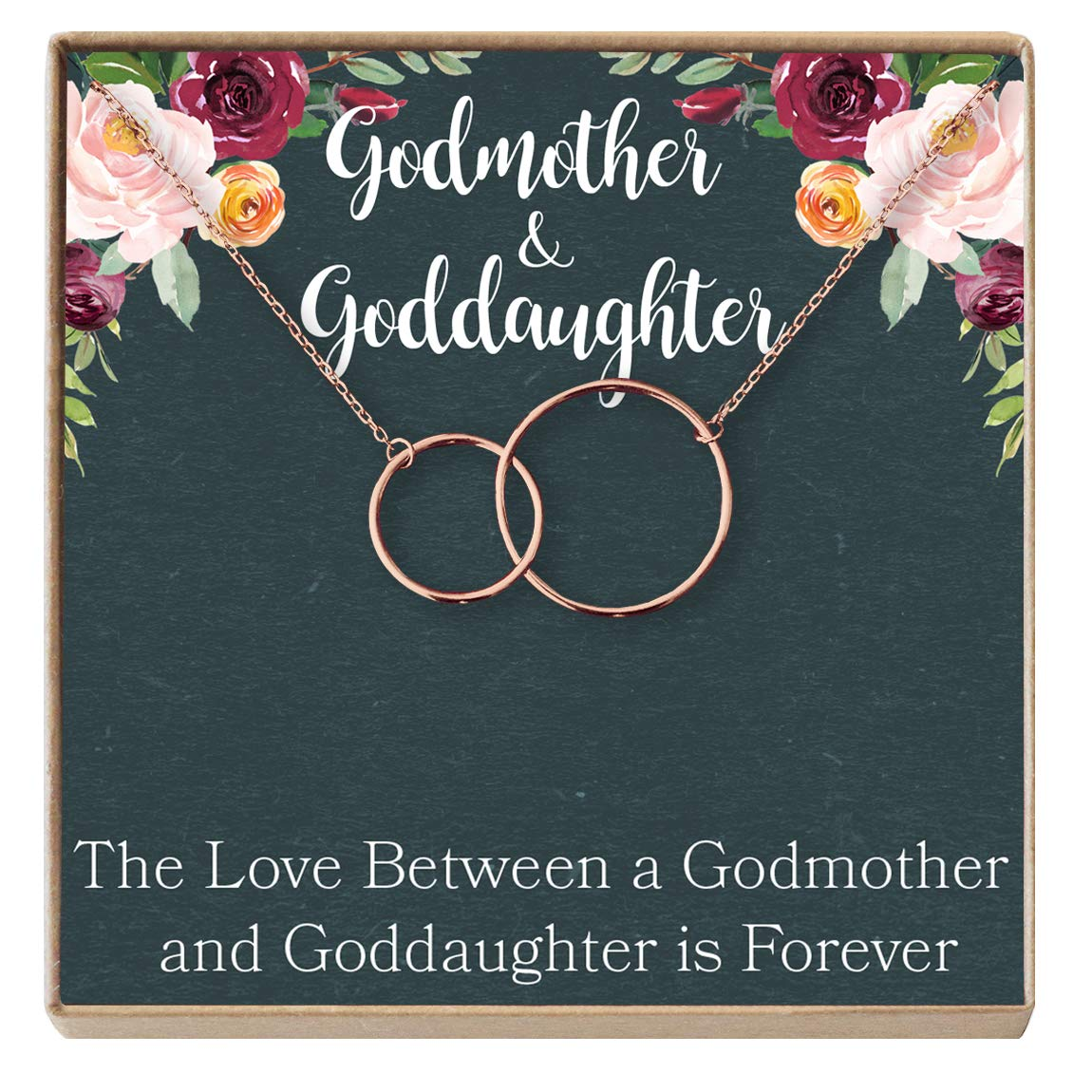 Request Godmother Proposal Dear Ava Godmother-Goddaughter Gift Necklace 2 Interlocking Circles