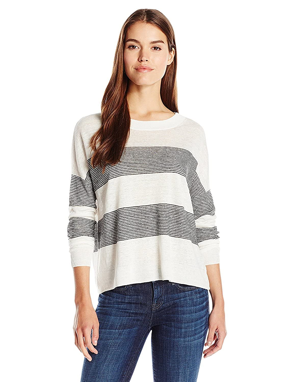 Vince Women's Linen Stripe Pullover Optic White/Black Medium [並行輸入品] B075CJQTLS