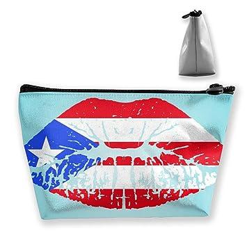 4b3afb1c59a6 Women Puerto Rico Flag Lips Toiletry Bag Holder Multi ... - Amazon.com