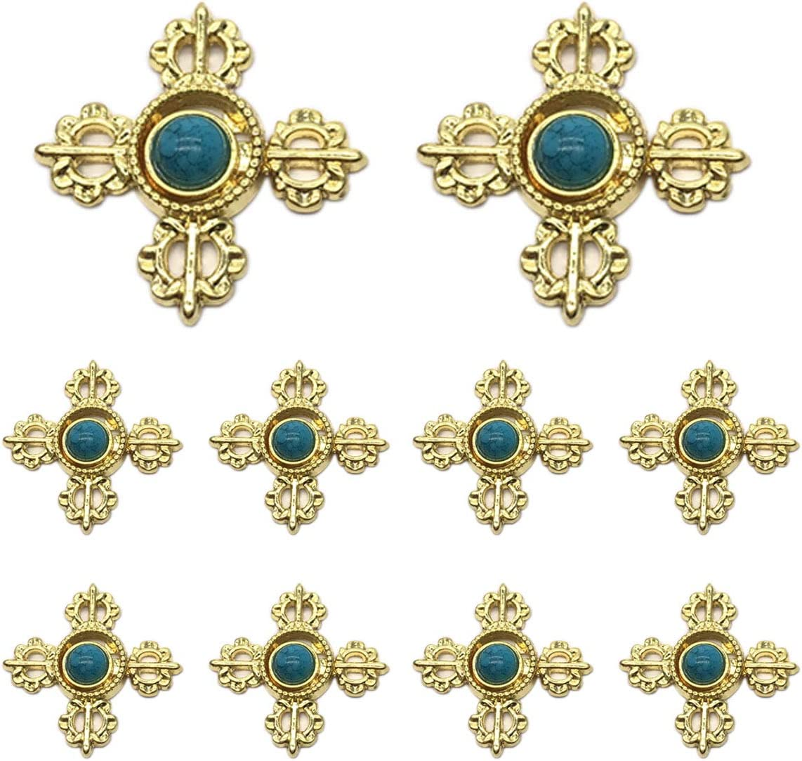 Monkey Rise 10 Pairs Lotus Seed Cloak Clasp,Sew On Hooks and Eyes Cardigan Clip(Golden)