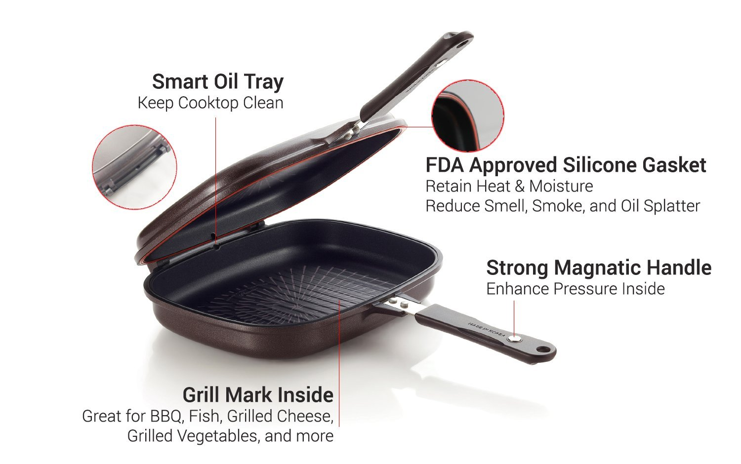 Happycall Titanium Nonstick Double Pan, Omelette Pan, Flip Pan, Square, Dishwasher Safe, PFOA-free, Brown (Jumbo Grill) by Happycall (Image #2)