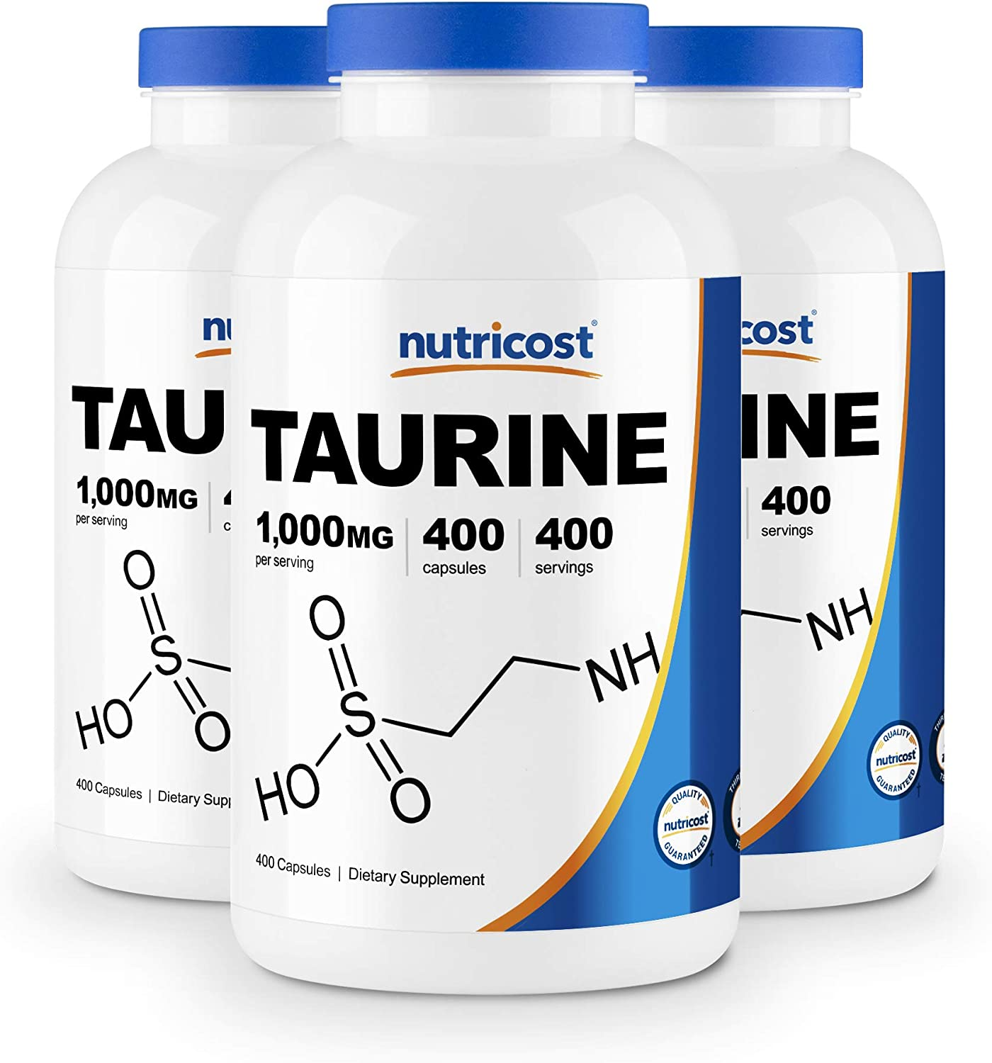Nutricost Taurine 1000mg; 400 Capsules (3 Bottles)