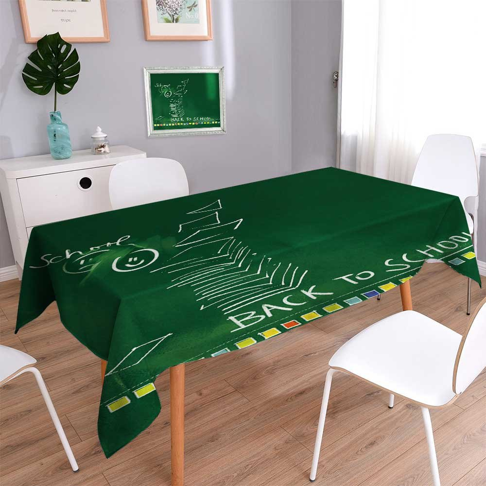 PRUNUSHOME Square Tablecloth green chalkboard background back to school doodles Perfect for Spring, SuAMMer, Indoor, Outdoor Picnics or Everyday Use/54W x 102L Inch