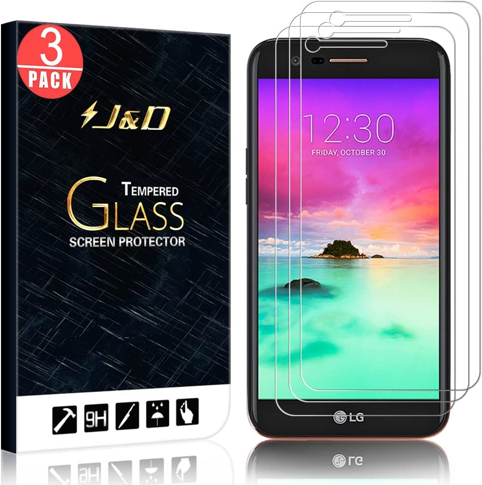 J&D Compatible for 3-Pack LG K20 V/LG K20 Plus/LG Harmony/LG K10 2017/LG V5/LG Grace Glass Screen Protector, [Tempered Glass] [Not Full Coverage] Glass Screen Protector for LG K20 V Screen Protector