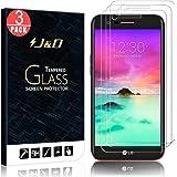 JD Compatible para 3 Paquetes LG K10 2017 Protector de Pantalla, [Cristal Templado] [NO Cobertura Completa] HD Claro Vidrio Balístico Protector de Pantalla para LG K10 (Relase in 2017)