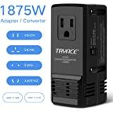 TryAce 1875W Universal Travel Adapter and Converter Combo 240V to 110V international Voltage Converter for Hair Dryer, All in One Plug 8A Max Adapter Wall Charger for UK/AU/US/EU 150+ Countries