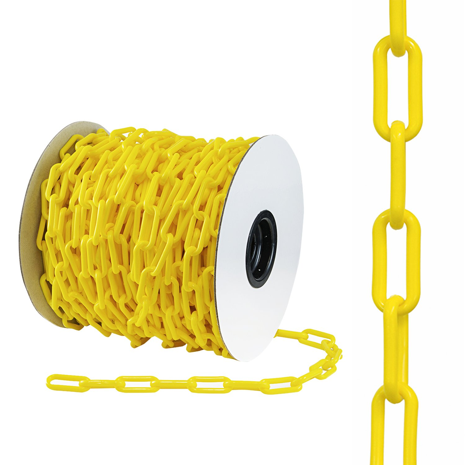 Houseables Plastic Chain, Safety Barrier, 124 Foot, 2'' Links, Light Weight, UV Protected, Accessory for Crowd Control, Queue Line, Decoration, Chains Link Fence (Yellow)