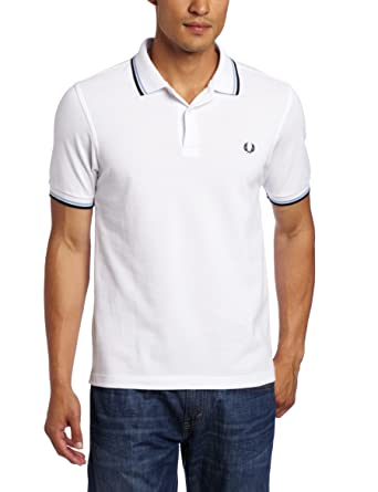 ee9d3b497ff FRED PERRY - Polo - Homme - Polo Slim Fit Blanc col Marine et Ciel pour