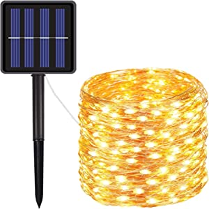 FOAMICHI Solar String Lights Outdoor, Advanced 100 LED Solar Powered Copper Wire Lights Waterproof 8 Modes Outdoor Lights String for Lawn, Patio, Yard, Garden Decor (Warm White)