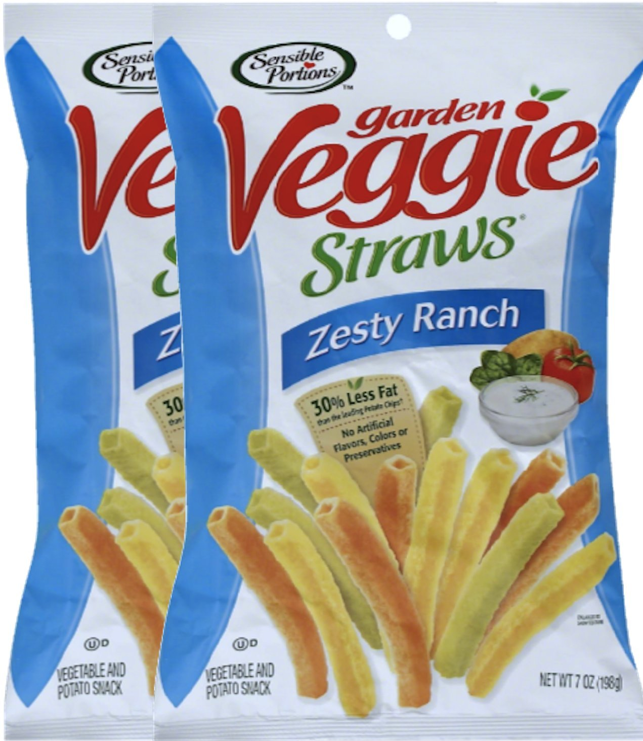 Sensible Portions Zesty Ranch Garden Veggie Straws, 7 oz Snack Care Package for College, Military, Sports (2)