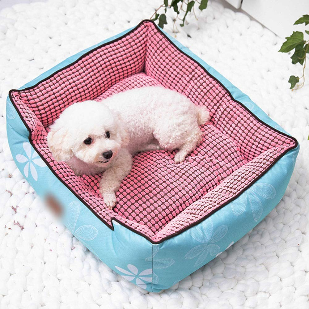 Jack's Us Small Shop Breathable Non-Slip Pet Kennel Warm Simple Pet Cat Litter Pad Easy to Clean (Color : Blue, Size : M)